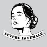 Future is female. Vector hand drawn illustration of pretty girl. Portrait of young lady. Template for card, poster, banner, print for t-shirt, pin, badge and royalty free illustration