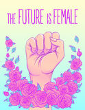 The future is female. Woman's hand with her fist raised up. Girl Royalty Free Stock Photos