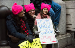 Future Feminist - Womens March - Washington DC. More than half a million people rallied in Washinton DC to protest on the first day of the US President Trump royalty free stock photo