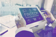 Future of financial technology internet interface concept Royalty Free Stock Image