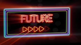Future - Flashing vibrant colorful neon board background stock footage