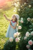 Future and flourishing. Girl in hat pointing finger in summer garden. Innocence, purity and youth concept. Child standing at blossoming rose flowers on green stock image