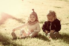 Future, flourishing, youth. Brother and sister play with toy horse on sunny day. Happy family, love, trust. Children, childhood concept. Boy and girl pick royalty free stock photography