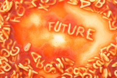 Future forecast. Concept with red past alphabet stock photography