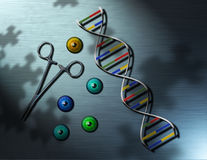 The future of genetics. A futuristic image with DNA strand, forceps and irises Royalty Free Illustration