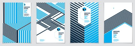 Future geometric design templates. Abstract striped textured geo. Metric vector patterns set. Layouts for Covers, Placards, Posters, Flyers and Banner Designs royalty free illustration
