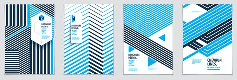 Future geometric design templates. Abstract striped textured geo. Metric vector patterns set. Layouts for Covers, Placards, Posters, Flyers and Banner Designs Stock Image