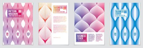 Future geometric design templates. Abstract striped textured geo. Metric vector patterns set. Layouts for Covers, Placards, Posters, Flyers and Banner Designs Royalty Free Stock Image