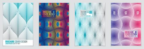 Future geometric design templates. Abstract striped textured geo. Metric vector patterns set. Layouts for Covers, Placards, Posters, Flyers and Banner Designs stock illustration