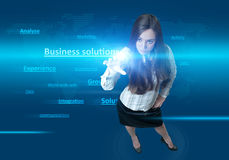 Future Girl pressing the BUSINESS SOLUTION Stock Image