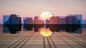 Future Glass City Horizon. Surreal futuristic glass city on a grid horizon in front of a sunset sky vector illustration