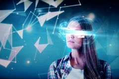 Future and hi-tech concept. Portrait of attractive young businesswoman with virtual reality glasses. Future and hi-tech concept. Double exposure stock image