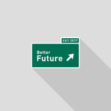 Future highway road sign direction flat design Stock Photography