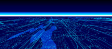 Future Horizon. Blue Future Tech Horizon with glows and light grids stock illustration