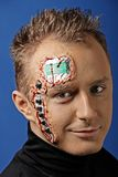 Future human robot with electronic chips and circuit on the head Stock Photos