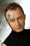 Future human robot with electronic chips and circuit on the head Royalty Free Stock Image