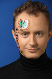 Future human robot with electronic chips and circuit on the head Royalty Free Stock Photo