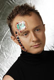 Future human robot with electronic chips and circuit on the head Stock Image