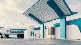 Future of hydrogen energy. Hydrogen gas station with truck, jet and city in the background.