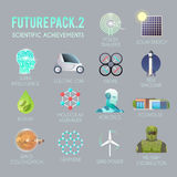 Future  icons flat set. Future  flat icons set. The technology of the future. Electric, drone, space, biofuel, the exoskeleton, graphene, space colonization Stock Photos