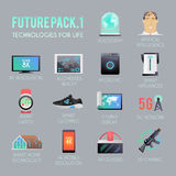 Future  icons flat set. Stock Images