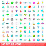 100 future icons set, cartoon style Royalty Free Stock Photography