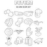 Future icons set, outline style Royalty Free Stock Images