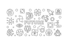 Future illustration de vecteur dans la ligne style mince Bannière d'AI illustration de vecteur