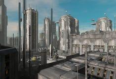 Future illustration du paysage urbain 3D illustration libre de droits