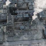 Future Industrial City. 3D render illustration of a smokey  Industrial City of the Future Royalty Free Stock Image