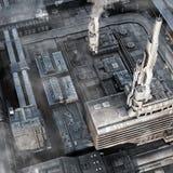 Future Industrial City. 3D render illustration of an Industrial City of the Future Stock Photos