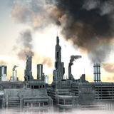 Future Industrial City. Industrial City, 3D render of a polluted future belshing smoke into the  sky Stock Photos