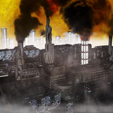 Future Industrial City. Industrial City, 3D render of a polluted future belshing smoke into a yellow sky Royalty Free Stock Photography