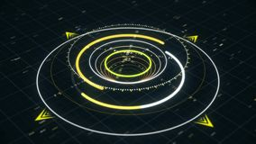 Future and innovation concept. Animation. Abstract animation of circular graph with digits on the dark background
