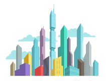 Future invented city skyscraper panorama high-rise buildings vector stock colorful illustration. Modern architecture Royalty Free Stock Photos