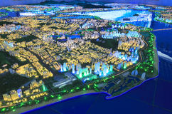 Future landscape of the eastern of amoy city, china. Sand table of amoy city planning exhibition hall Royalty Free Stock Photography
