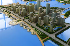 Future landscape of the haicang town of amoy city, china. Sand table of amoy city planning exhibition hall Royalty Free Stock Photo