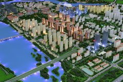 Future landscape of the jimei town of amoy city, china. Sand table of amoy city planning exhibition hall Royalty Free Stock Images