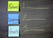 Future learning goals. Business or education concept of future learning goals on a charkboard and sticky note-concept Stock Images