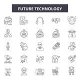 Future ligne icônes, signes, ensemble de vecteur, concept de technologie d'illustration d'ensemble illustration libre de droits