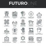 Future ligne icônes de Futuro de technologie réglées illustration stock