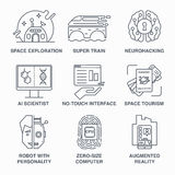 Future ligne incroyable ensemble de technologies d'icône Photos stock