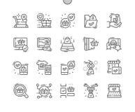 Future ligne mince Bien-ouvrée shoping icônes de vecteur parfait de pixel illustration de vecteur