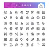Future Line Icons Set. Set of 56 technology of future line icons suitable for web, infographics and apps. Isolated on white background. Clipping paths included Royalty Free Stock Photo
