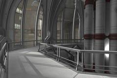 Future living. A futuristic landing in an urban setting stock illustration