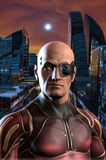 Future man and city. 3D render science fiction illustration Royalty Free Stock Photography