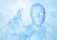 Future man touch screen concept Stock Images