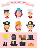 Children in Uniform and Their Future Professions. Future mariner, girl in stewardess cap, goinr to be chef, girl in police uniform, pupil builder and boy Stock Photography