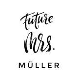 Future Mme pinceau marquant avec des lettres la conception nuptiale illustration libre de droits