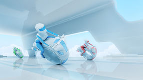 Future motobike riders team in hi-tech interior. Futuristic transport concept series Stock Photos